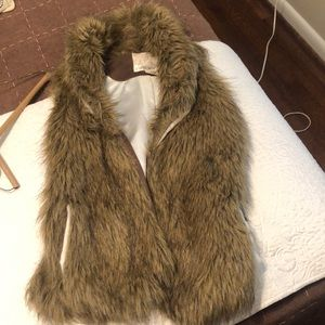 Fur vest with suede back